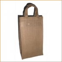 Two Bottle Bag with Bamboo Handle